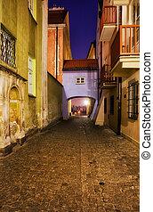 Dawna Street in Warsaw Old Town at Night