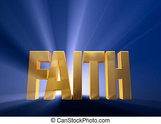 """Dawning Faith - Bright, gold """"FAITH"""" on a dark blue..."""