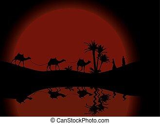 day., καμήλες , περίγραμμα , αντανάκλαση , παλάμες , άνθρωποι , καραβάνι , δίκαιη τιμωρία , νερό , μικροβιοφορέας , διαμέσου , νύκτα , περιπλάνηση , mit , illustration.