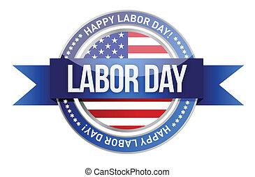 day., シール, 旗, 私達, 労働