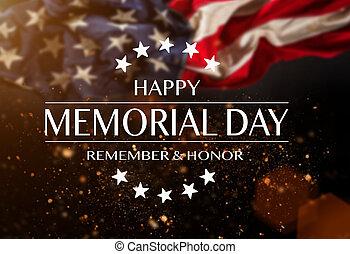 day., テキスト, 記念, アメリカの旗