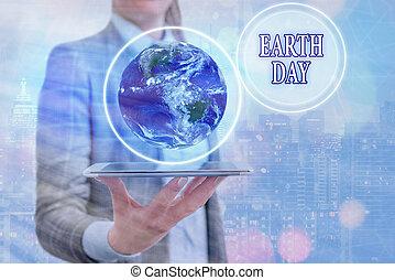 day., 概念, 祝福, showcasing, 環境, 手, 写真, 地球, ビジネス, 世界的に, 執筆, これ, nasa., イメージ, エコロジー, 保存, 要素, 提示, 供給される