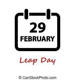 day., 29., icon., vektor, sprung, februar