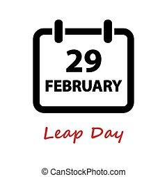 day., 29., icon., vetorial, pulo, fevereiro