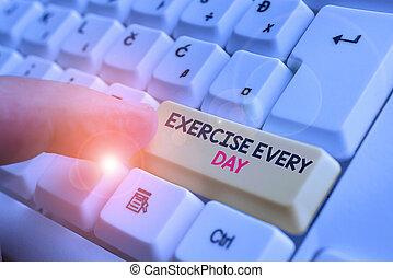 day., adquira, energeticamente, exercício, saudável, acima, papel, escrita, nota, movimento, ajustar, showcasing, corporal, teclado, branca, cada, foto, experiência., pc, ordem, mostrando, negócio