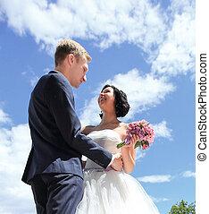 day., aimer couple, closeup., mariage