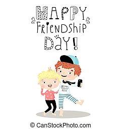 day., amicizia, felice