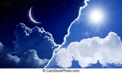 Day and night - Abstract background - day and night, sun and...