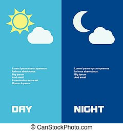 Day and night banners isolated with sun  moon in flat style