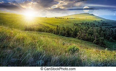 day and night change in high mountain landscape - day and...