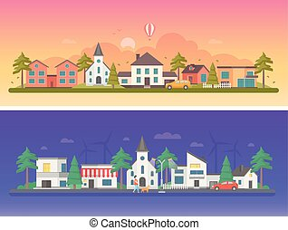 Day and night city - set of modern flat vector illustrations