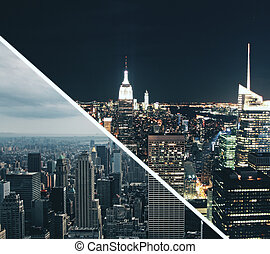 Day And Night City Wallpaper Abstract