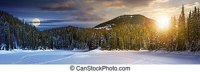 day and night concept of winter spruce forest. location lake...