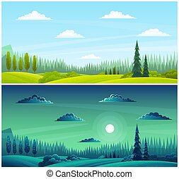 Day and night countryside landscape with moon, grass on the hills, pine forest on the horizon