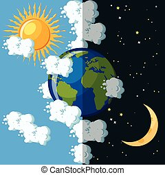 Day and night on the planet Earth concept.
