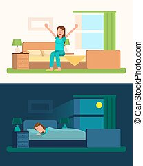Day and Night Pictures with Girl Vector Illustration