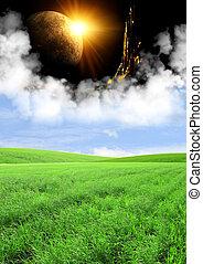 Portal to fantasy world - Day and night. Portal to fantasy...