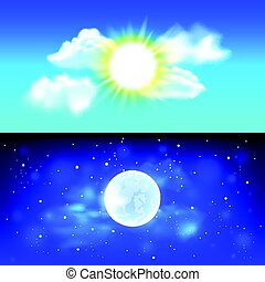 Day and night sky vector background