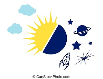 Day and night sun and moon vector