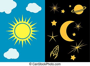 Day and night, sun and moon vector