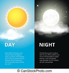 Day and night, sun moon