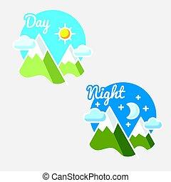 Day and night, sun - moon symbol illustration