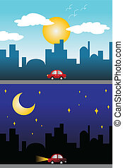 Day and night view of a modern city - A vector illustration ...