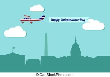 day., avião, bandeira, independência, feliz