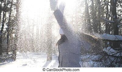 day., beau, snowflakes., lent, poignée, heureux, séduisant, ...