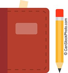 Day book in leather cover vector icon flat isolated