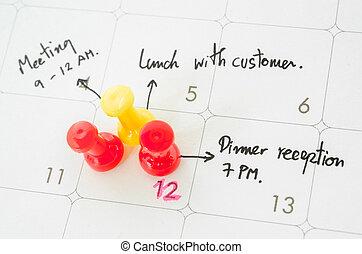 day., calendrier, occupé, pushpin