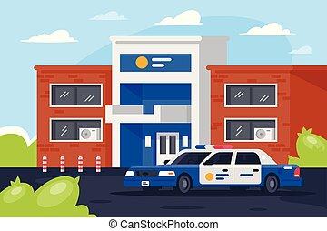 day., car, estação, polícia, trabalhando