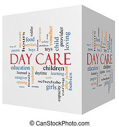 Day Care 3D Cube Word Cloud Concept with great terms such as children, costs, provider, safety and more.