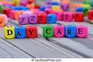 Day care words on table