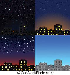 day., cidade, diferente, vista, vezes