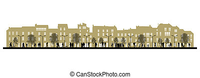 day city life on a street facade background - illustration...
