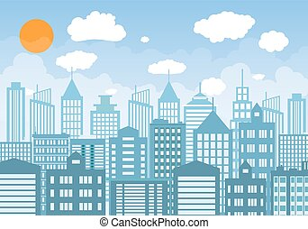 Buildings silhouette with windows cityscape with clouds.