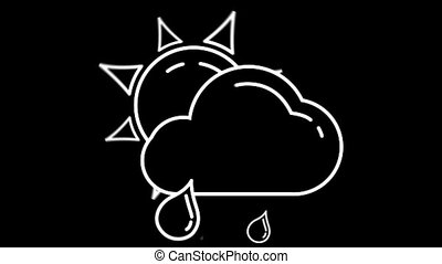 Day Cloud with Rain weather forecast line icon on the Alpha...