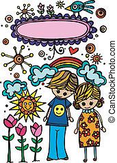 day., coppia, soleggiato