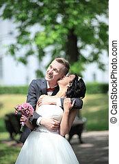 day., couple, heureux, jeune, mariage