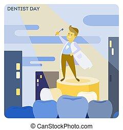 day., dentiste, heureux