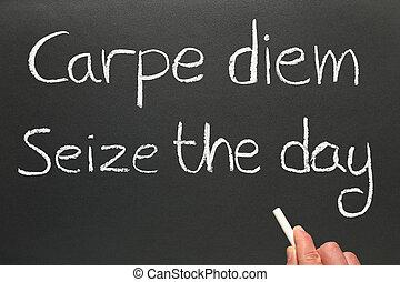 day., diem, carpe, latijn, sjorren