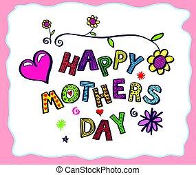 day., disegnato, mano, scheda, madre