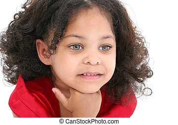 Day Dreaming - Close up of beautiful 3 year old girl in red ...