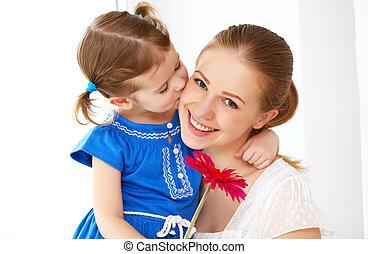 day., elle, aimer, heureux, mères, mère, donne, family., fleurs, fille