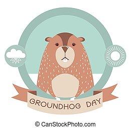 day., etikett, murmeldjur, groundhog, isolerat, vektor, vit