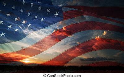 day., fahne, unabhängigkeit, usa