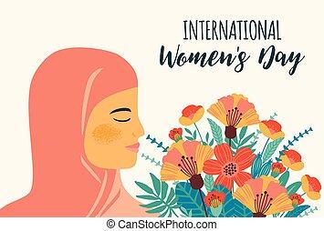 day., femme, arabe, s, vecteur, gabarit, international, fleurs, femmes