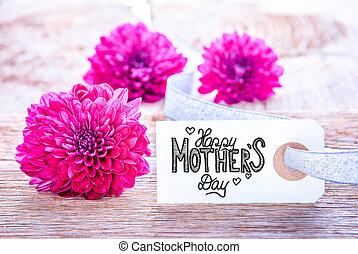day., flor, madres, feliz, puprle, etiqueta, caligrafía, tres, flores