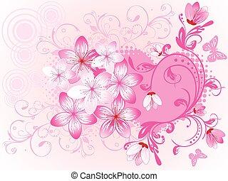 day., floreale, fondo, valentine